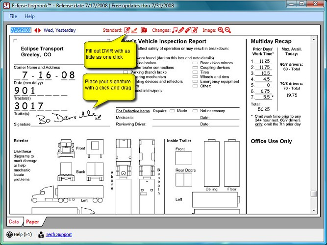 Truck Driver Daily Inspection Report Section Of The Log