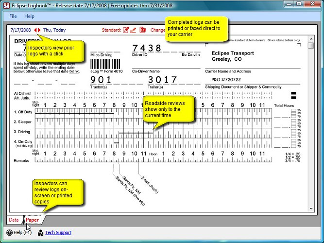 Drivers Daily Log - New FMCSA rules - Laptop Logbook Software