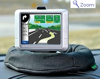 Bean-bag style Bracketron GPS pad mounting bracket for truckers and RVers