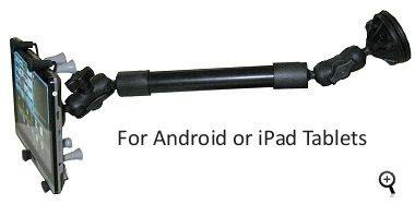 iPad and Android tablet and cell phone mounts for truck dash and windshield