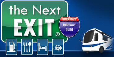 Highway and interstate exit services and amenities guide book for RV or truck