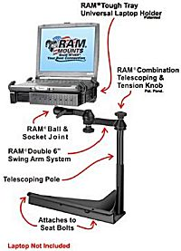 Car and truck vehicle laptop stand shown with Panasonic computer
