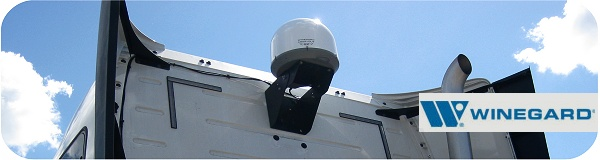 Winegard in-motion and stationary satellite dish antenna for truck