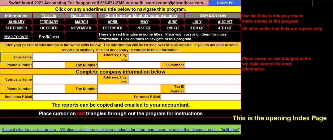 Truck Driver Accounting Software Spreadsheet Program From
