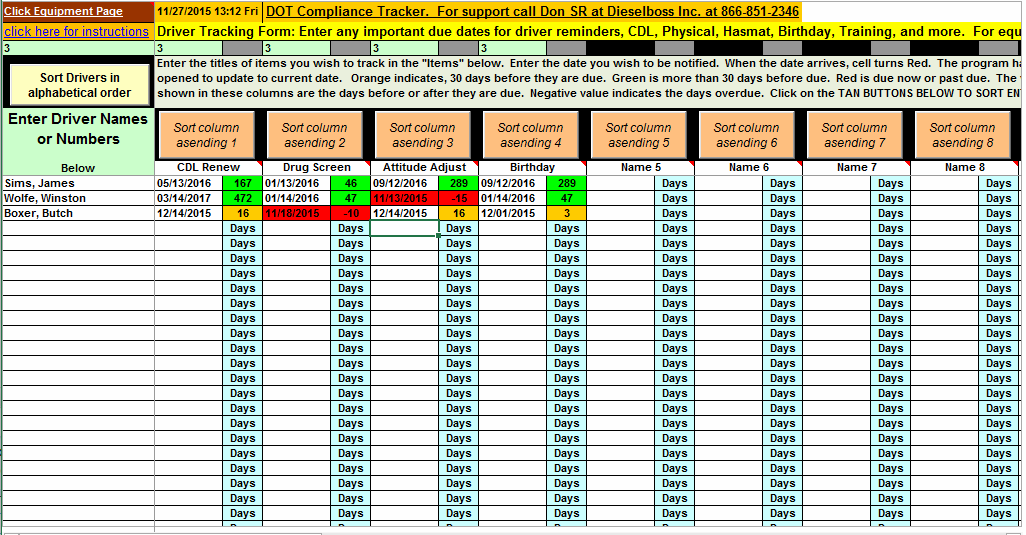 trucking management software and important date tracker spreadsheet