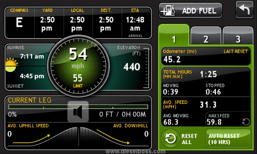 Trucker Gps System With Ifta Mileage And Fuel Purchase Entry Log By State